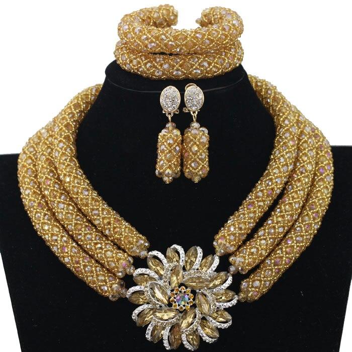 Chunky or cristal perles femmes collier de mariée mode bijoux de mariage perles africaines bijoux ensemble 2018 livraison gratuite BN296