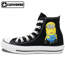 Funny Minions Shoes Hand Painted Converse All Star Despicable Me High Top Black Unique Canvas Sneaker Gifts for Man Woman