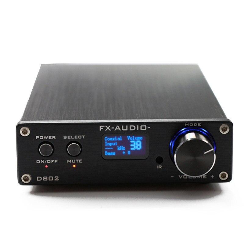FX-Audio D802 USB оптическая Волокно коаксиальный Вход Домашнее аудио HIFI чистый цифровой Усилители домашние 192 кГц 80 Вт + 80 Вт OLED Дисплей Дистанцион...
