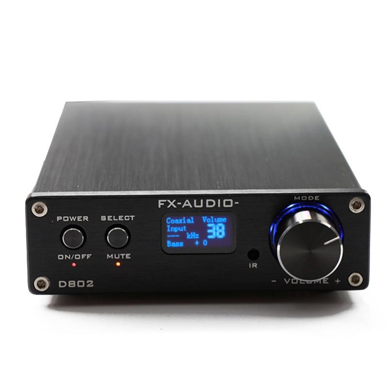 FX-Audio D802 USB Optical Fiber Coaxial Input Home Audio Hifi Pure Digital Amplifier 192KHz 80W+80W OLED Display Remote Control цена