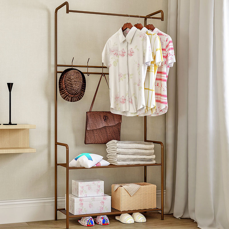 Simple Coat Rack Household Economic Floor standing Hanger Drying Rack Storage Shelf Shoe Rack Home Furniture
