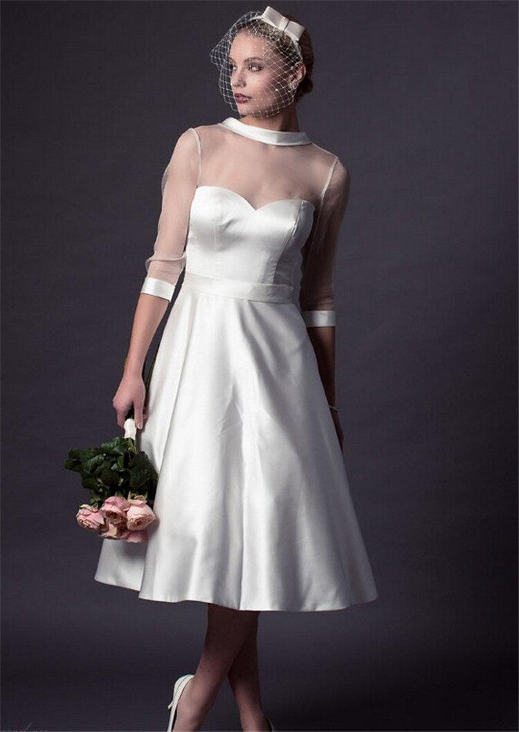 Popular Organza Tea Length Wedding Dress-Buy Cheap Organza Tea ...
