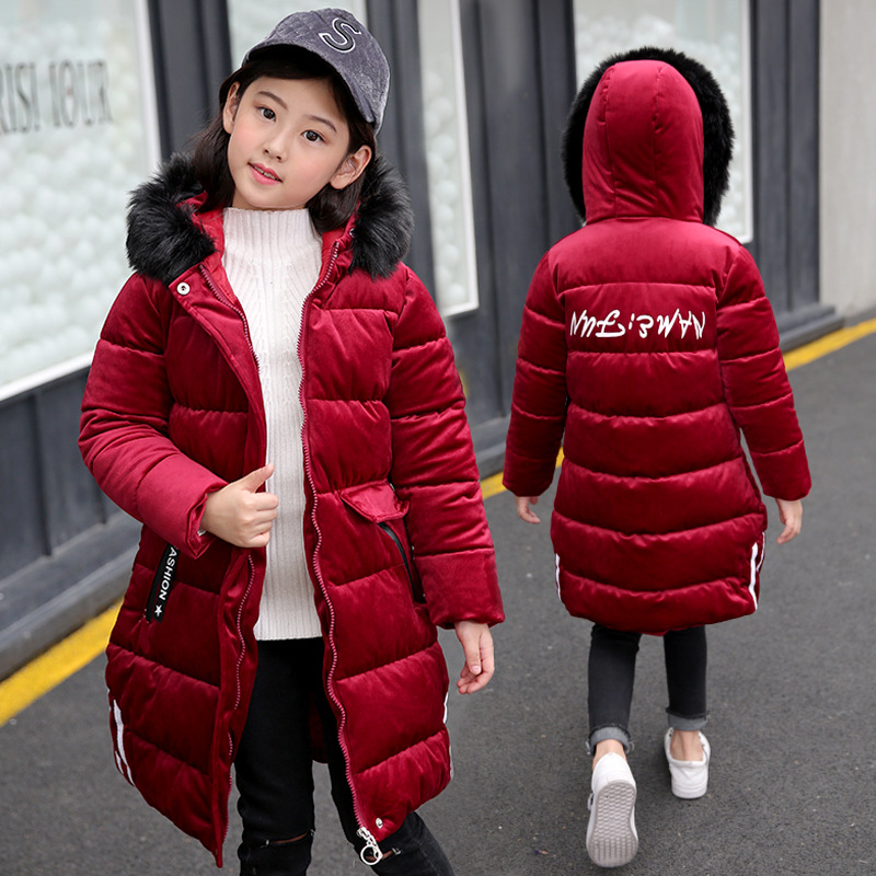 -25 Degree New Children Winter Jacket Teenager Girl Winter Coat Warm Thick Fur Collar Hooded Long Coats for Kids 6 8 10 12 14
