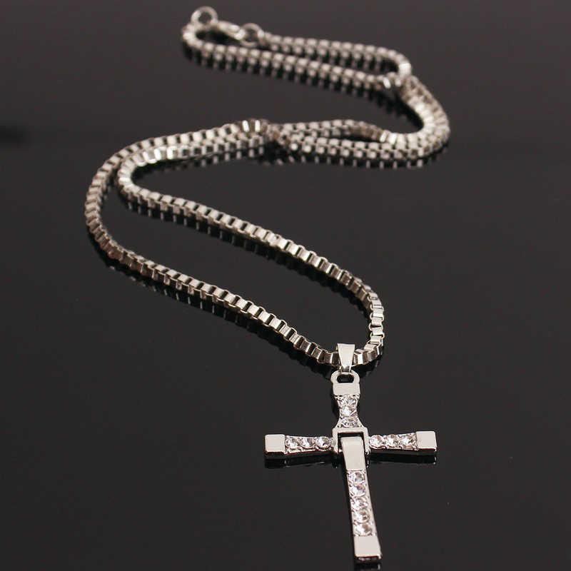 HOMOD High Quality The Fast and the Furious Celebrity Vin Diesel Item Crystal Jesus Cross Pendant Necklace for Men Gift Jewelry