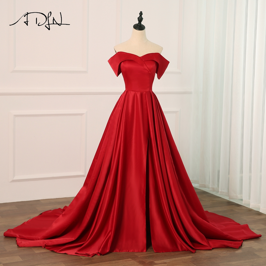 ADLN Elegant Burgundy Satin   Evening     Dresses   2018 Long A line Prom   Dresses     Evening   Party   Dresses     Evening   Gown Robe De Soiree