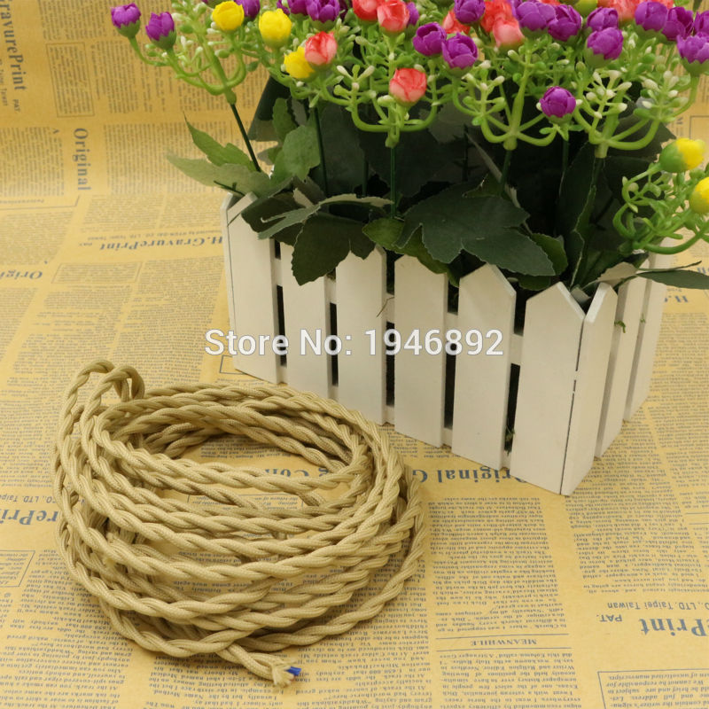 5m 2 x <font><b>0.75</b></font> Vintage rope Wire Twisted <font><b>Cable</b></font> Retro Braided Electrical Wire Fabric Wire DIY Pendant Lamp Wire Vintage Lamp Cord image