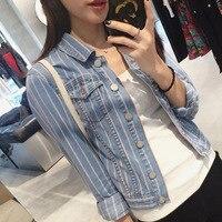 Brand Fashion Spring Autumn New Female Cowboy Long Sleeve Thin Stripe Women Jacket Dropship AD9589