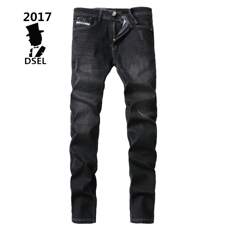 Fashion Mens Strong Stretch Jeans Ripped Denim Trousers Slim Fit Black Jeans Men Dsel Brand Jeans Elastic With Logo 707-4 fashion blue stretch jeans ripped denim trousers slim skinny new famous brand dsel patch jeans elastic mens biker jeans u701
