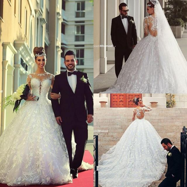 New Elegant 2016 Ball Gown Wedding Dress Long Sleeves Lace Sheer High Neck Appliques Cathedral Train Bridal Gowns WB21