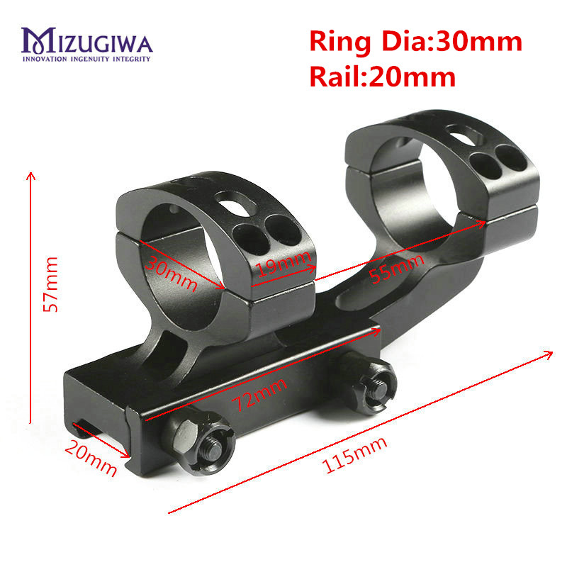 MIZUGIWA Tactical Heavy Duty Cantilever Dual Rings Ring 30mm Rifle Scope Mount Adapter 20mm Picatinny Rail Weaver Hollow Hunting interstep is cc 1usbiph5b 000b201