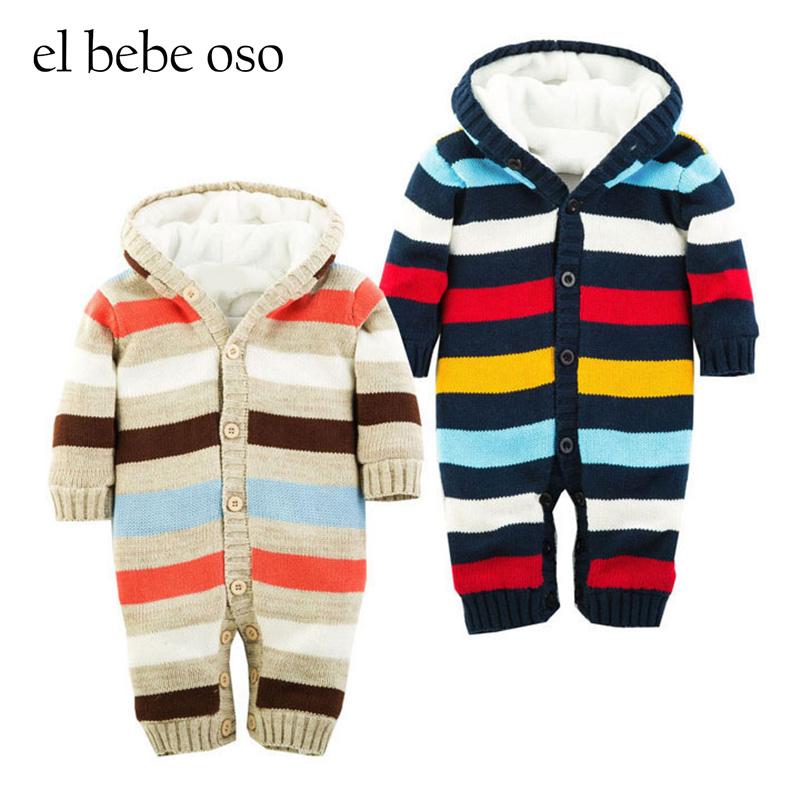 Newborn Baby Fleece Romper 2016 Knitted Warm Winter Rompers Color Stripe Roupas Feminina Brand Baby Clothes Mamelucos Para Bebes baby rompers baby winter coveralls infant boy girl fleece romper ropa nena invierno knitted stripe jumpsuit bebe newborn outwear
