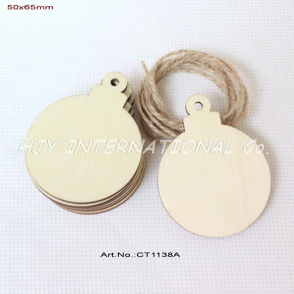 Christmas Wooden Ornaments -  50pcs lot 50mmx 65mm blank unfinished christmas ornaments ball tags rustic wooden tags