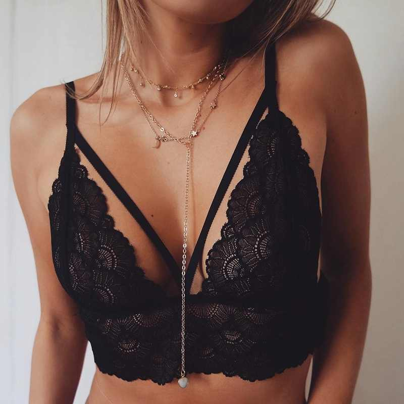 Women Sheer Sexy Lingerie Printed Hollow Plus Size Underwear Women Lace Sexy Bra Shoulder Adjustable Lace Bra Push Up Bralette