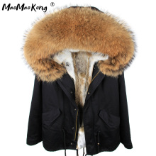 MMK 2017 Fashion woman army green Large raccoon fur collar hooded coat parkas outwear detachable rabbit fur lining winter jacket