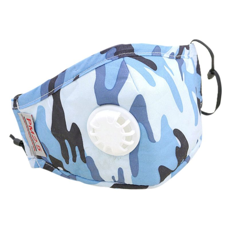 Unisex adulto PM2.5 la boca de algodón máscara reemplazable filtro de aire de carbono de camuflaje impreso Color sólido boca mufla respirador