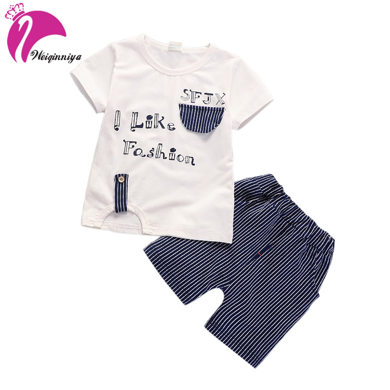 weiqinniya Boys Set Summer Toddler Boy Clothing Sports Set 2018 Kids Cartoon Suit For Boy Casual Letter Tops+Pants 2PCS Sets Kid ...