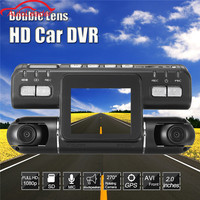 Car DVR Camera G Sensor Dual Lens Dashcam Full HD 1080P 360 Wide Angle Recorder Support