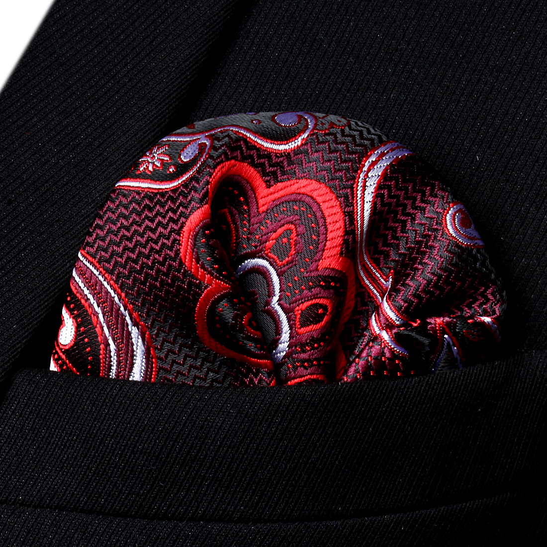 HP936U Burgundy Black Paisley Men Silk Party Handkerchief Pocket Square Hanky