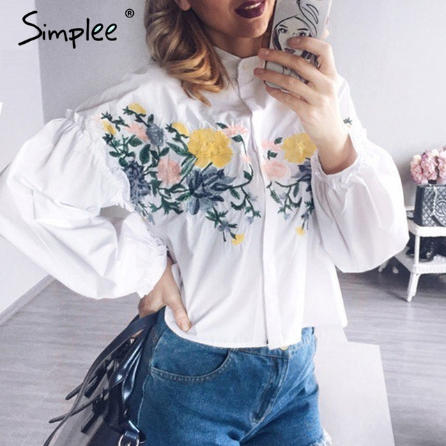 Simplee Embroidery flower blouse shirt women tops 2017 summer Ruffle white blouse female blusas Long sleeve cool blouse chemise