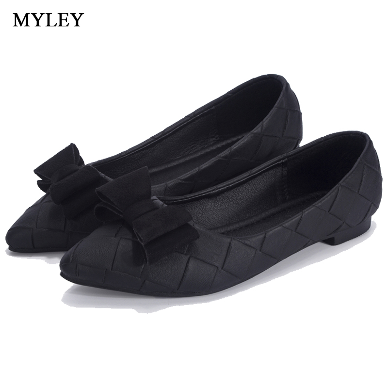 MYLEY Women Bowknot Flats Shoes Pointed Toe Nurse Comfortable Work Shoes Slip-on Casual Shoes Korean Style Black Gray Pink hot sale 2016 new fashion spring women flats black shoes ladies pointed toe slip on flat women s shoes size 33 43