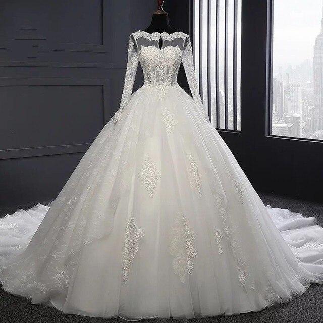 brautkleider hochzeitskleid Long Sleeve Lace Appliqued Ball Gown ...