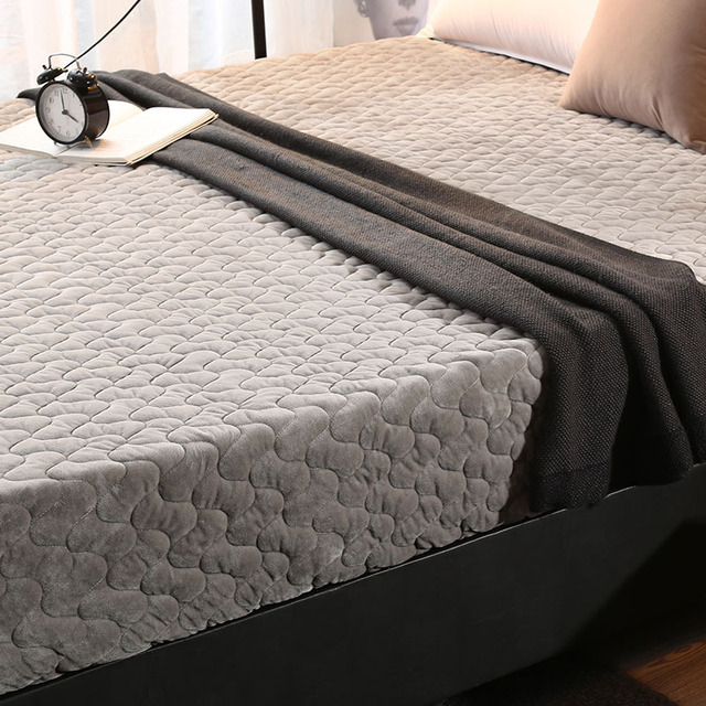 Double Sided Mattress Protector Thick Plush Warm Mattress Cover