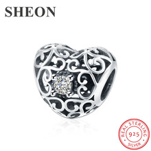 SHEON Heart Charms 925 Sterling Silver Love Heart Shape Beads fit Pandora Necklaces Bangles Girlfriend Gift Jewelry Accessories цена и фото