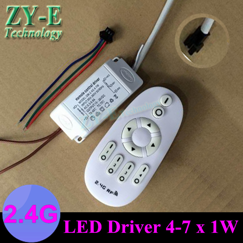 2 Set 4-7x1 W LED driver+remote controller 4W 5w 7w ceiling Lights Remote 2.4G key control dimmer for ceiling bulb lamp freeship