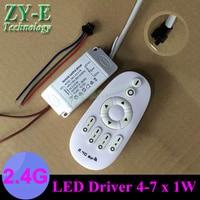 2 set 4-7x1 w led driver + afstandsbediening 4 w 5 w 7 w plafondverlichting remote 2.4g sleutel controle dimmer voor plafond gloeilamp freeship
