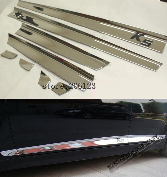 2011 2012 2013 2014 2015 FOR KIA Optima/K5 High quality ABS Chrome body side moldings side door decoration блокиратор рулевого вала fortus kia optima 2011 2013 csl 2503