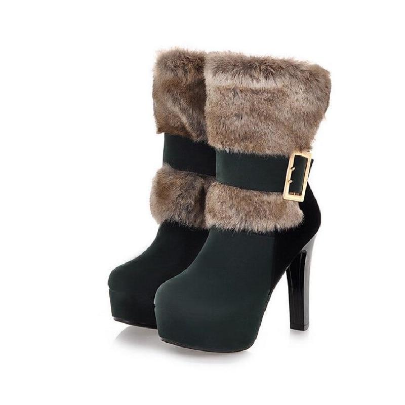 2016 Super Sexy Winter Fur Boots Women's Plush Warm Platform Ankle Boots Slip on buckle Woman High Heels fashion Shoes Size 43 настенная плитка porcelanosa mosaico zen blanco 31 6x90