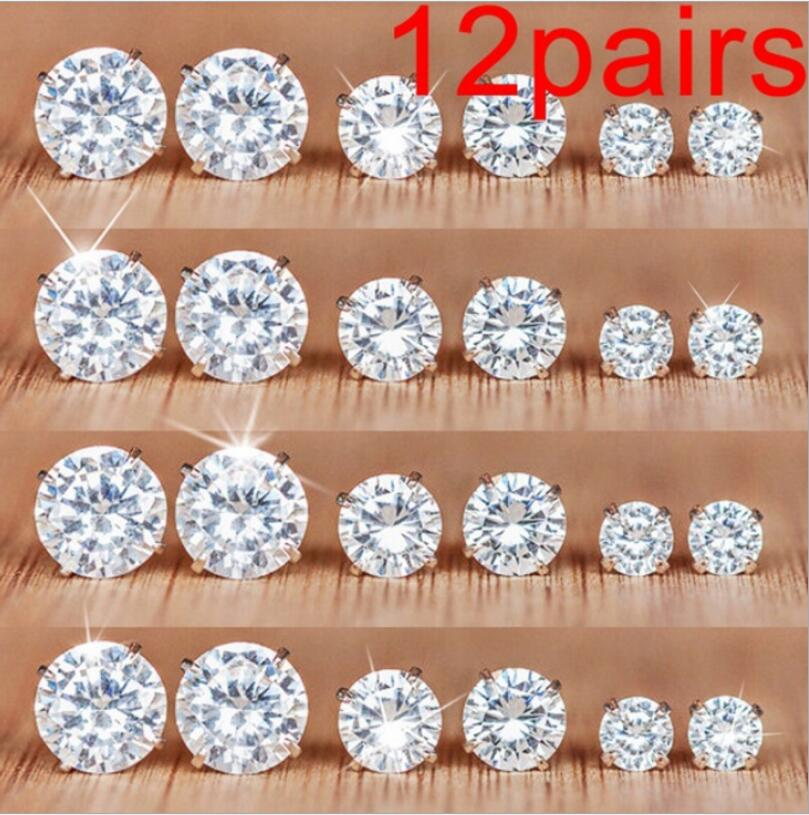 Stud Earrings Hard-Working 12 Pairs/set White Crystal Earrings Set For Women Ladies Earring Set Jewelry Rhinestones Stud Earrings Kit Pack Lots Brincos Good For Antipyretic And Throat Soother