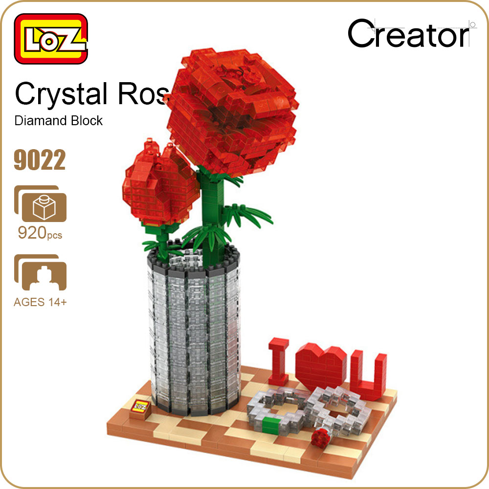 LOZ Diamond Blocks Bricks Toys Building Assembly Toy Crystal Rose Valentine's Day Gifts Girl Friend Gift DIY Creator Flower 9022 hc9009 1650pcs pikachu cartoon movie series without original box building blocks diamond bricks toys compatible with loz