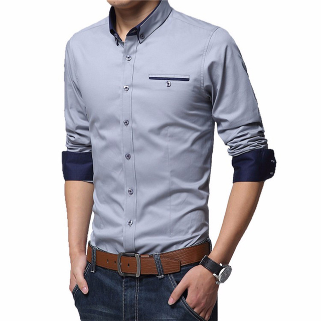 Men's Wedding 2018 Shirt Long Sleeve Men Dress Shirt Business Solid Color Casual Shirts Work Wear Formal Slim Shirt Man CY18001 2