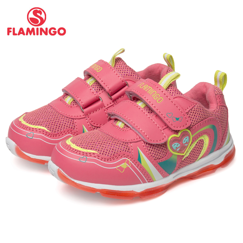 FLAMINGO Brand Mesh Breathable Leather Insoles Children Sport Shoes Spring& Summer Size 23-29 Kids Sneaker for Girl 81K-BK-0584 bonjomarisa new brand plus size 33 40 cow leather flower woman shoes high heel women shoes black office summer sandals