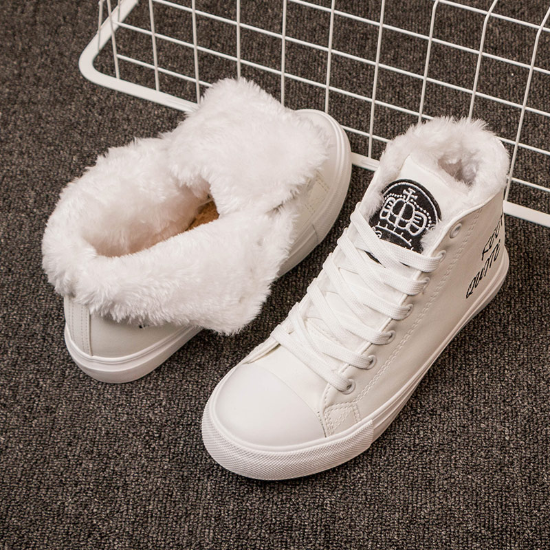Women High Boots Snow Warm Winter Sneakers PU Botas Feminina Lace Up Ankle Boots Fur Botines Mujer Ladies Black Plush Zapatos