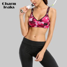 Charmleaks Womens Mid Impact Sports Bra Padded Support Yoga Breathable Running Workout Top