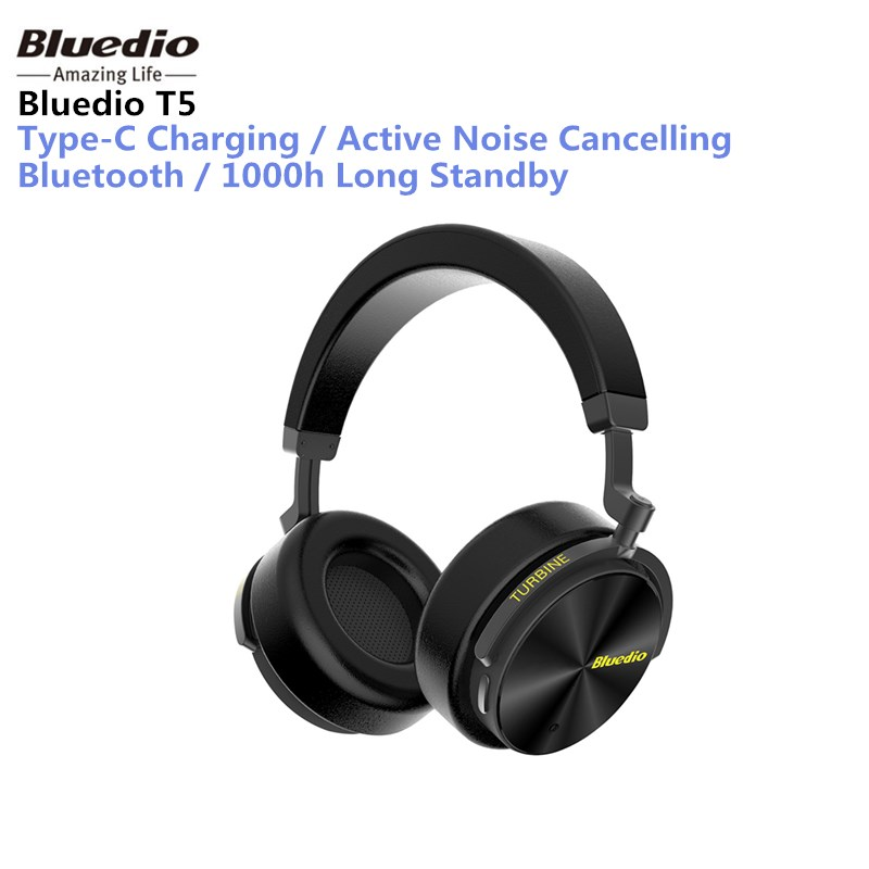Original Bluedio T5 Active Noise Cancelling Wireless Bluetooth Headphone Portable Headset with Microphone for phones and music