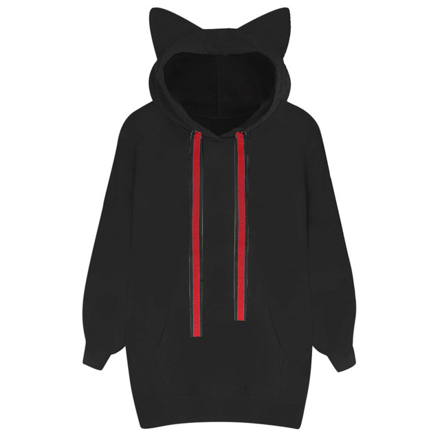 8adebdf2af209 2019 Fashion Hoodies Women Sweatshirt Cat Ears Plus Size Autumn Pullover  Hooded Long Sleeve Sweat Femme Sudadera Mujer