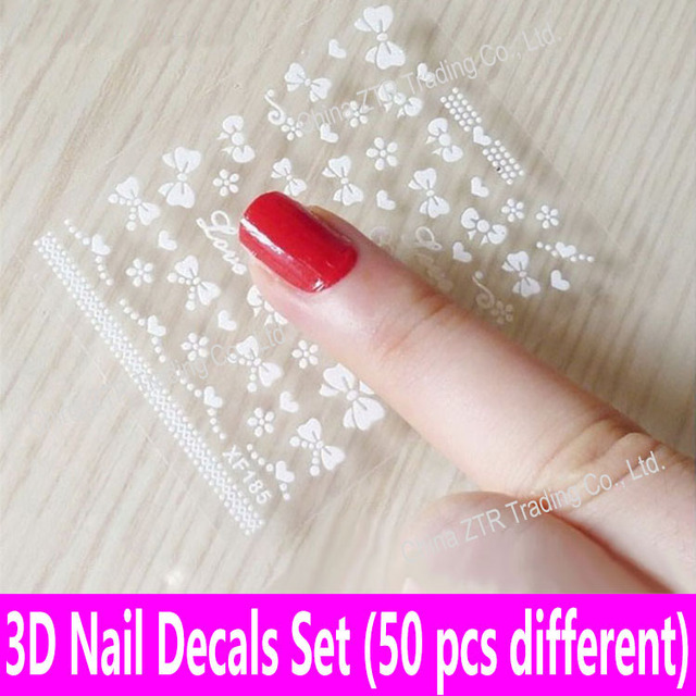 Aliexpress buy 50pcs nail stickers nail art decals glue 50pcs nail stickers nail art decals glue transfer 3d decals print applique transparent nail decoration 50 prinsesfo Image collections
