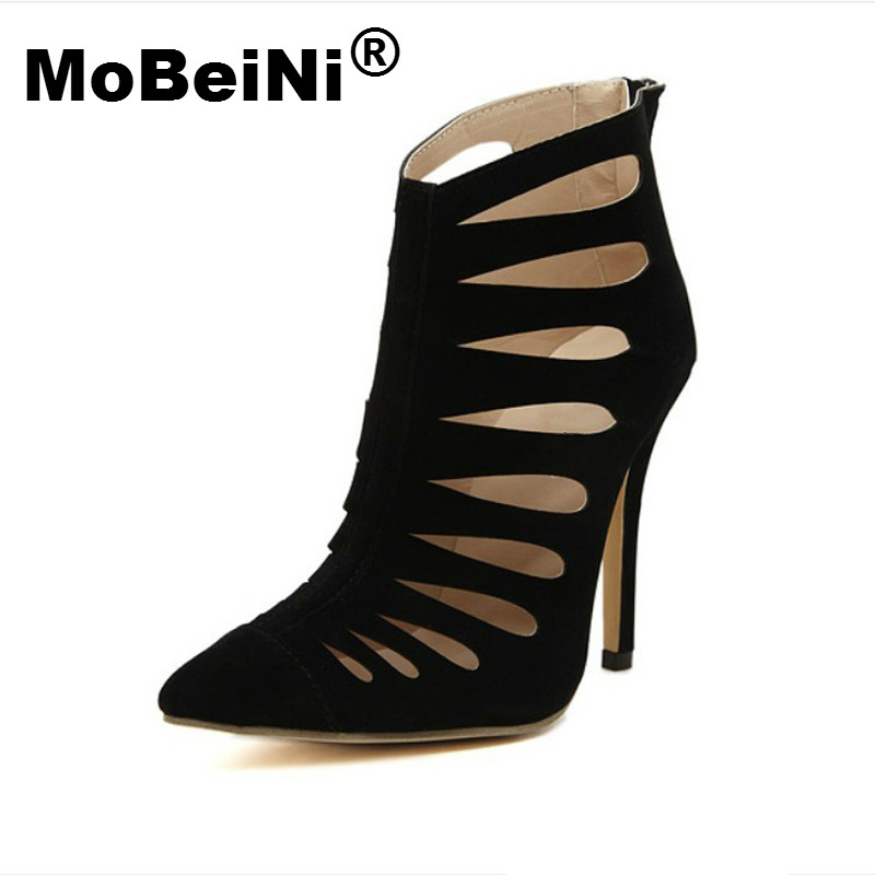 MoBeiNi Spring Summer Cut Out Openwork Ankle Boots Pointed Toe Faux Suede High Top Shoes Women Pumps Sandals Gladiator Stilettos new fashion woman flats spring summer women shoes top quality strappy women sandals suede pointed toe gladiator ballet pumps