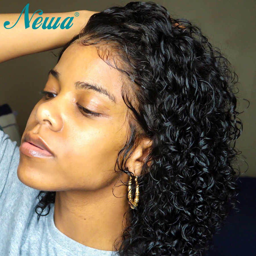 Newa Hair Curly 360 Lace Frontal Wig Pre Plucked With Baby Hair Short Remy Hair Lace