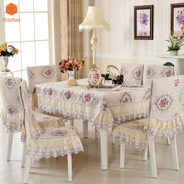 European style Tablecloth 100 Polyester Lace Tablecloth tables and chairs set cushion chair set Cloth Cover