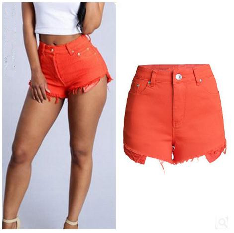 2017 Summer Womens Wide Legs Candy Color Slim Shorts High Waist Tassel Female Summer Skinny Shorts Bermudas Short Feminino K347