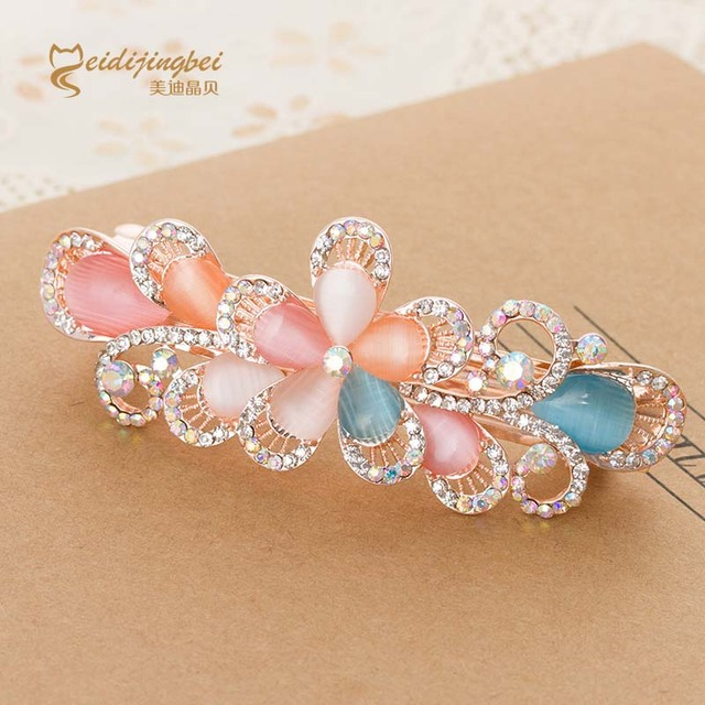 Multicolor opal rhinestone flower women hairpins rose gold color