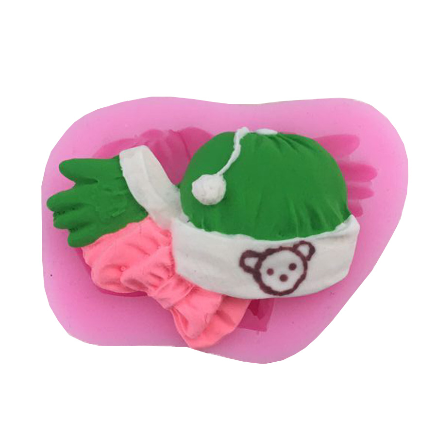 Fondant Cake Decorate M139 To Assure Years Of Trouble-Free Service Bakeware The Cheapest Price 1pcs Food Grade Silicone Baby Gloves Hat Shape For Silicone Cake Molds
