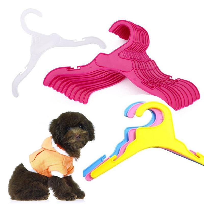 10PCS Set Plastic Tough random color fashion font b Pet b font Dog Cat Clothes Hanger