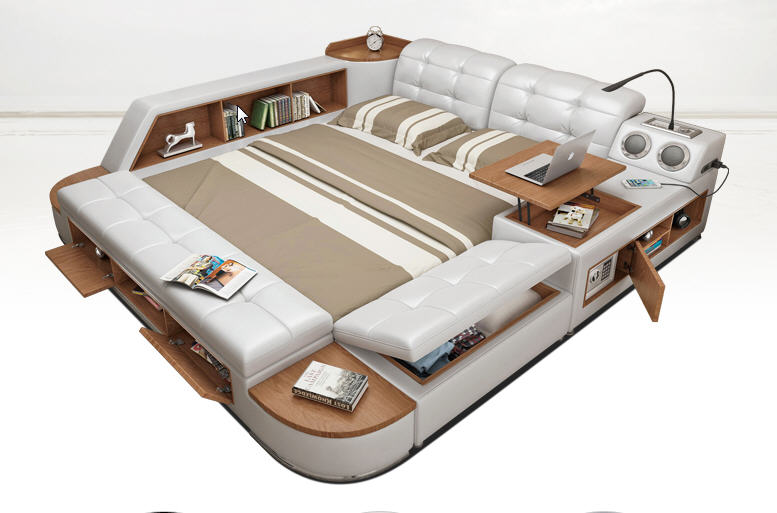 Post современные реальные натуральная кожа кровать/мягкая кровать/двуспальная кровать king/queen size мебель для спальни с коробка для хранения и б...