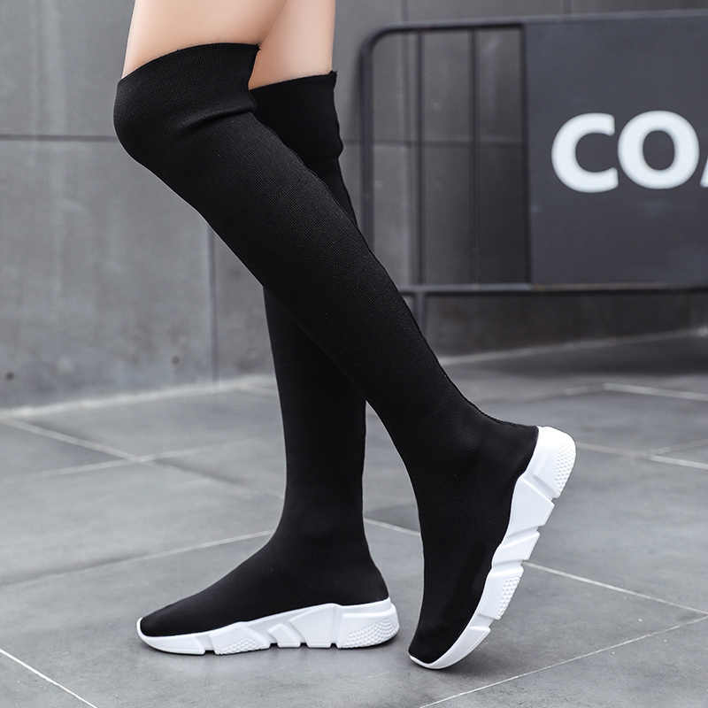 Femme bottes Long Tube chaussettes chaussures 2019 nouvelle femme mode chaussures plates pour femmes panier hiver bottes femmes chaussures Botas De Mujer