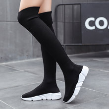 0aa01ac87c976 Woman Boots Long Tube Socks Shoes New Female Fashion Slim Long Tube Boots  Shoes for Women